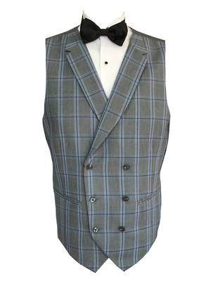 Double breasted black check waistcoat